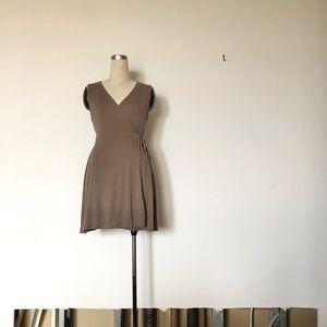 WORKHALL - Coffee Wraparound Skater Dress